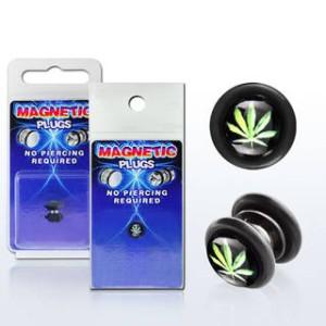 FAKE Kolczyk do Ucha oszukany plug tunel marihuana trawka (F24)