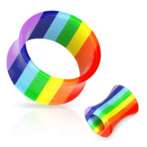 TUNEL 19mm piercing kolczyk plug RAINBOW do uszu (t19/19)