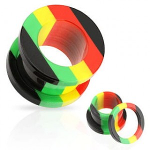TUNEL 16mm UV RASTA paski piercing (t22/16)
