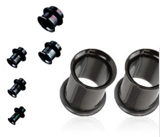 Tunel Czarny 20mm 22mm 25mm do ucha piercing (t24)
